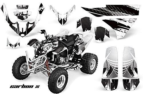 AMRRACING Polaris Predator 500 2003-2007 Full Custom ATV Graphics Decal Kit - Carbon X White