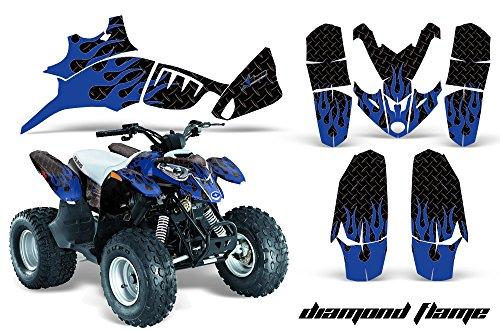 AMRRACING Polaris Predator 90 All Years Full Custom ATV Graphics Decal Kit - Diamond Flames Blue Black