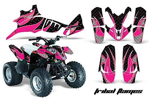 AMRRACING Polaris Predator 90 All Years Full Custom ATV Graphics Decal Kit - Tribal Flames Pink Black