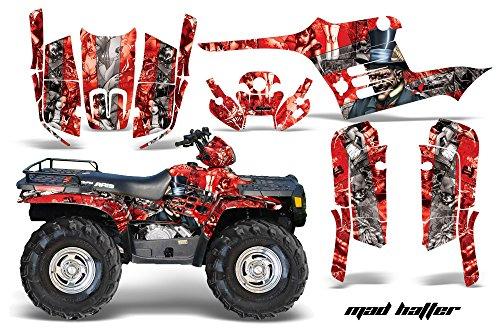 AMRRACING Polaris Sportsman 400500600700 1995-2004 Full Custom ATV Graphics Decal Kit - Mad Hatter Silver Red
