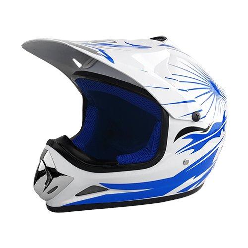Full Face Motocross Helmet  White  Blue   Size Large