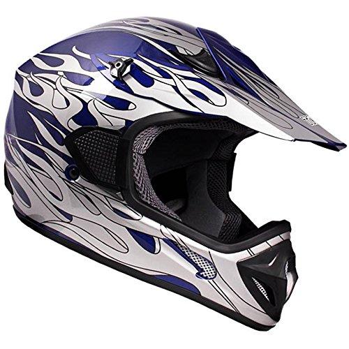 TMS Adult Tms Blue Flame Dirtbike ATV Motocross Helmet Mx Off-road Medium