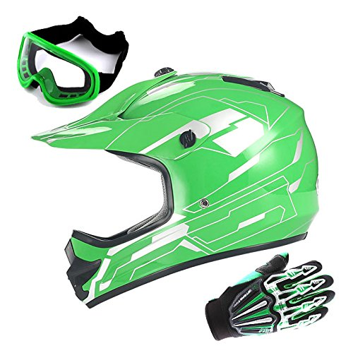 Youth Motocross Helmet MX BMX ATV Bike Kids Storm Green Helmet Size Medium  Goggle  Skeleton Glove Size Medium
