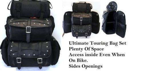Jumbo motorcycle sissybar bag tbag set studded opens on sides