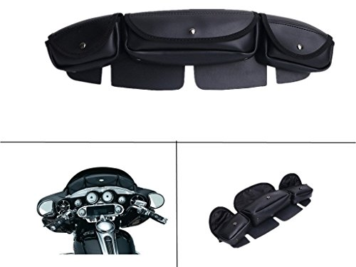 E-most Motorcycle Windshield Bag 3 Pouch Pockets Fairing For Harley Electra Street Glide Touring Bike 1996-2013