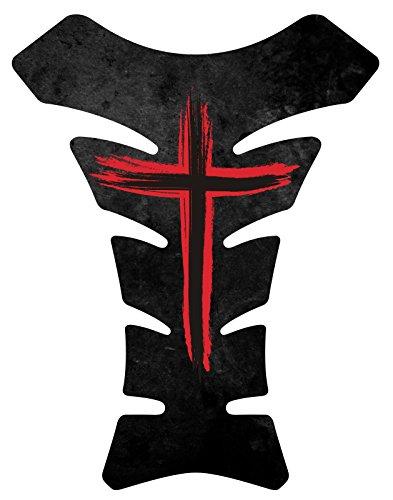 Size is 85 in tall x 65 in wide Jesus Christian Cross Black Red Gel Motorcycle Gas Tankpad Kawasaki Ninja ZX Suzuki GSXR Honda CBR Yamaha YZF Triumph Motorcycle TanK pad Decal Sticker