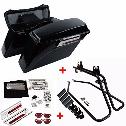 ASD Vivid Black Hard Regular Size Saddlebags W Black Saddle bag Conversion Support Mount Bracket Kit Latch Lock Key Set For 1997-UP Harley Davidson Softail FXST