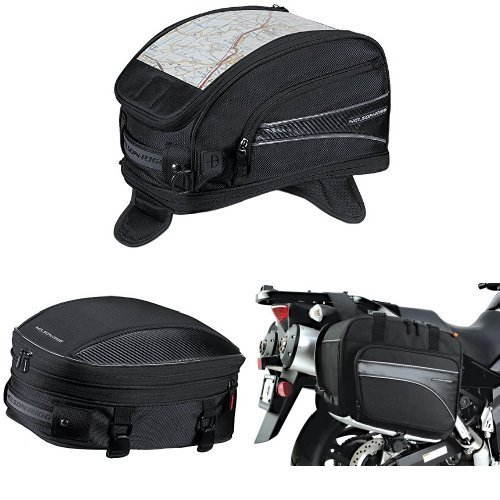 Nelson-Rigg CL-2015-MG Black Magnetic Mount Journey Sport Tank Bag  CL-1060-S Black Sport TailSeat Pack  and  CL-855 Black Touring Adventure Saddlebag Bundle