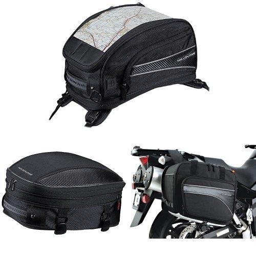 Nelson-Rigg CL-2015-ST Black Strap Mount Journey Sport Tank Bag  CL-1060-S Black Sport TailSeat Pack  and  CL-855 Black Touring Adventure Saddlebag Bundle