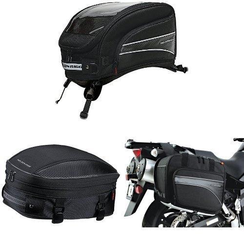 Nelson-Rigg CL-2016-ST Black X-Large Strap Mount Journey Tank Bag  CL-1060-S Black Sport TailSeat Pack  and  CL-855 Black Touring Adventure Saddlebag Bundle