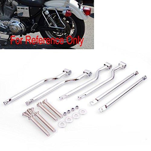Set Of New Chrome Saddlebag Support Bars Brackets Universal Fit Honda Yamaha Suzuki Kawasaki Harley